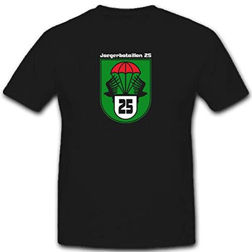 JgBtl25 Jägerbataillon 25 Bundesheer Österreich Armee Einheit Bundeswehr Militär Wappen Abzeichen Emblem- T Shirt #3687, Größe:XL, Farbe:Schwarz