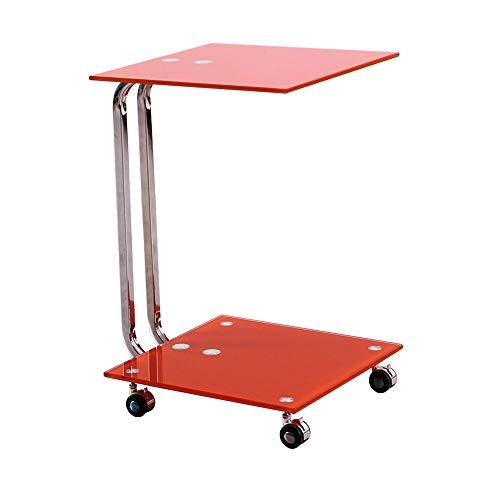 Tables FEI - Bureau d'ordinateur Bureau d'ordinateur à Roues avec canapé en Verre Clair/Noir en Verre de latérale/d'extrémité pour Tous Les postes de Travail (Couleur : Red)