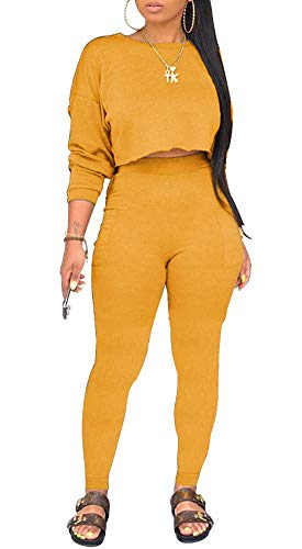 Two Piece Outfits for Women - Sweater Tracksuit Long Sleeve Sweatshirt and Sweatpants Set Sports Romper Yellow