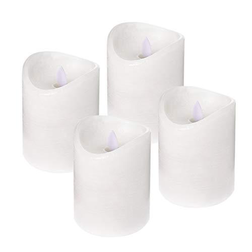 ToCi Lot de 4 bougies LED blanches sans flamme en cire véritable avec flamme mobile et minuterie (4 bougies - Ø 7,5 x 10 cm)