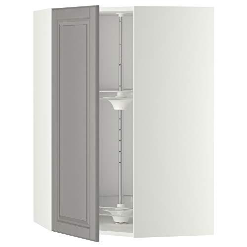 METOD hörnväggskåp med karusell 67,5 x 67,5 x 100 cm vit/Bodbyn grå
