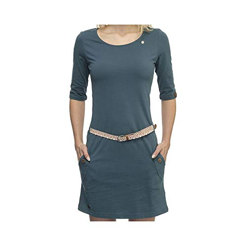 Ragwear Tanya SOLID Damen,Streetwear,Kleid,Jerseykleid,Sommerkleid,3/4 Arm,vegan,Rundhalsausschnitt,Taillengürtel,Petrol,S