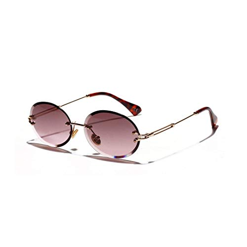 LAMZH Sunglass Fashion Diamond Cut Vintage Oval Gafas de Sol, Gafas de Cristal Texturizado, sin Marco, Unisex. (Color : Dark Purple)