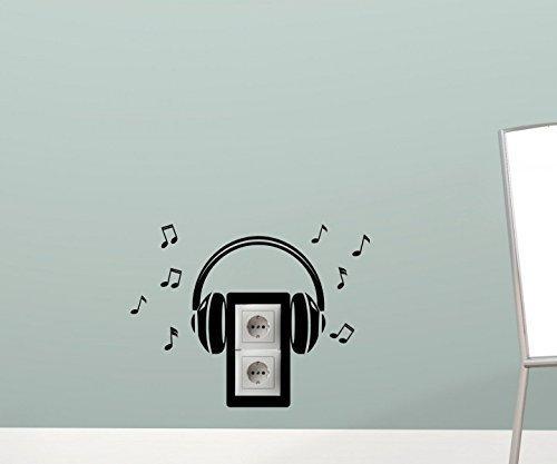 Wandtattoo Kopfhörer Musik 40cmx30cm Lichtschalter Steckdosen Aufkleber 5F187, Farbe:Schwarz Matt