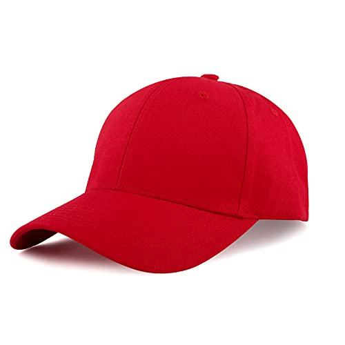 KELOYI Kappe Damen Basecap Herren Baseball Cap Rot Adjustable Baumwolle Base Running Tennis Outdoor