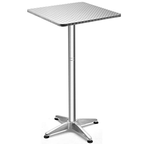 """USA_Best_Seller Modern Chic Useful Folding Silver 23.5"""" Aluminium Square Bar Table Indoor Outdoor Bistro Multi-usages Garden Patio Lightweight Smooth Surface"""