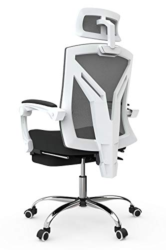 Hbada Bürostuhl ergonomischer Drehstuhl mit Fußstütze Chefsessel mit hoher Rückenlehne Schreibtischstuhl mit verstellbare Kopfstütze und Armlehnen Weiß