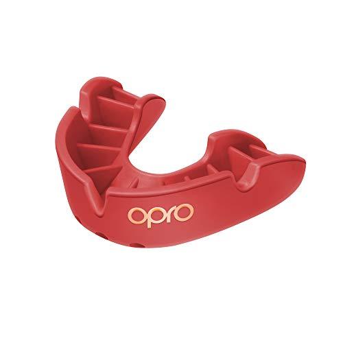 OPRO Protector bucal Self-Fit Bronze - para Rugby, Hockey, Artes Marciales Mixtas, y Otros Deportes de Contacto (Rojo, Junior)