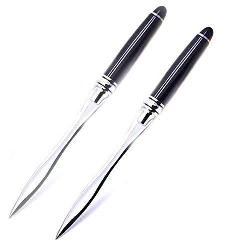 Letter Opener Envelope Slitter Envelope Opener Paper Knife (2 PCS: Black - Silver 03, 6.10 x 0.45 x 0.45 Inches)