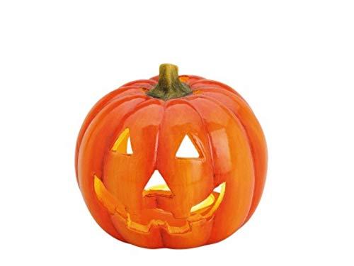 """meindekoartikel Halloween Deko Windlicht Teelichthalter Kerzenhalter """"Kürbis mit Gesicht"""" aus Ton glänzend - orange Ø12 x T10 cm"""