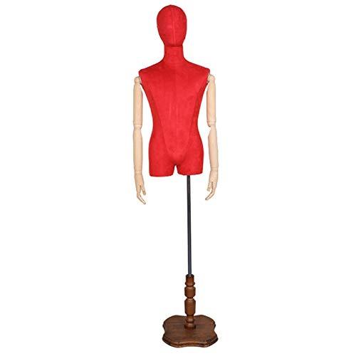 FSFF Maniquí de Sastre Masculino, Busto de exhibición de modistas Desmontable con Brazo de Madera Maciza y Base de Madera Maciza Adecuado para exhibición de Ropa de Hombre (Color: Rojo)