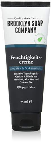 Vegane Anti Falten Tagespflege, Feuchtigkeitscreme (75 ml), Gesichtscreme mit Q10 Naturkosmetik der BROOKLYN SOAP COMPANY ® Geschenkidee als Geschenk für Männer jeden Alters