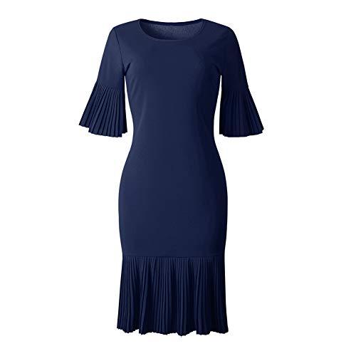Dyyicun12 Vrouwen Elegante Jurk Plus Size PartySolid Kleur Plissé Halve Mouw Bodycon Midi M marineblauw