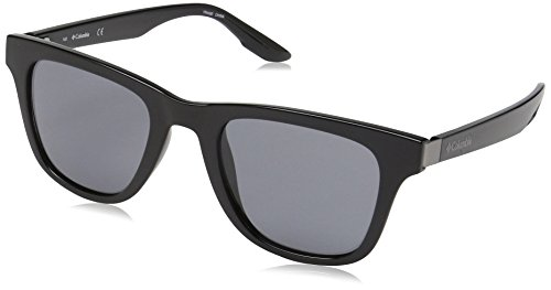 Columbia Men's By The Bluff Square Sunglasses, Shiny Black/Smoke, 50 mm