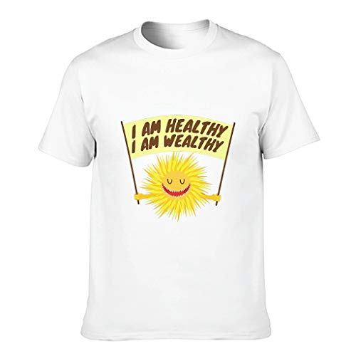 Camiseta de algodón para hombre, diseño con texto en alemán 'Ich bin gesundund, ich Bin wohlhabend Neuheit Neuheit Lusstig Comfort' blanco XXL