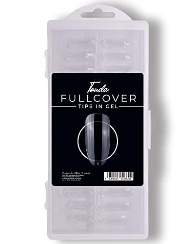 240 Pezzi Fullcover Tips in Gel a forma di Tonda Trasparenti, 6 misure Full Cover Unghie Finte per Ricostruzioni Mani, Nails e Tip Nail art