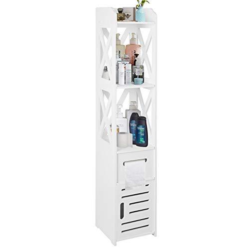 Cocoarm Badschrank Badkommode Badezimmerschrank Badezimmer Hochschrank Badregal Badmöbel mit 2 offenem Fach 1 Schublade und Türen Weiß 120 × 22 × 22,5 cm