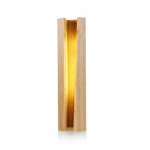 Sooiy Creative Accueil Lampe de Table en Bois pentagonale Chambre LED Lampe de Chevet Hôtel Restaurant Bambou Décoration Night Light Petit