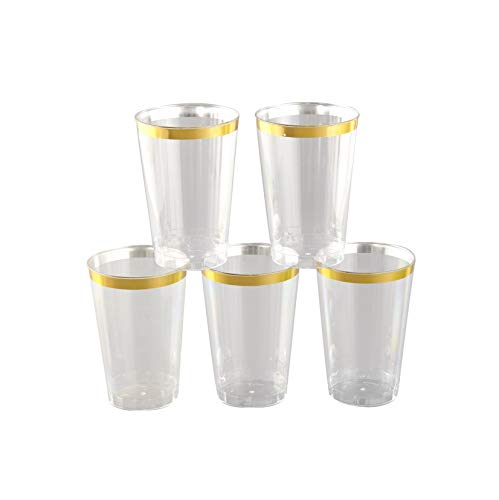 12 oz. Gold Clear Plastic Cups (100 Pack) – Fancy Premium Disposable Wine Glasses for Wedding, Bridal Shower, Cocktail Party & Birthday Celebration - Elegant Gold Trimmed Cups