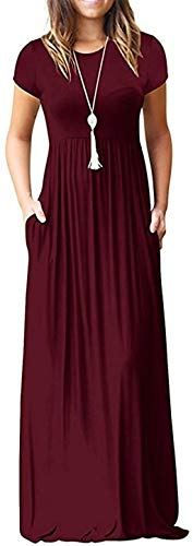 HAOMEILI Women's Short Sleeve Loose Plain Long Maxi Casual Dresses with Pockets XL Wine Red