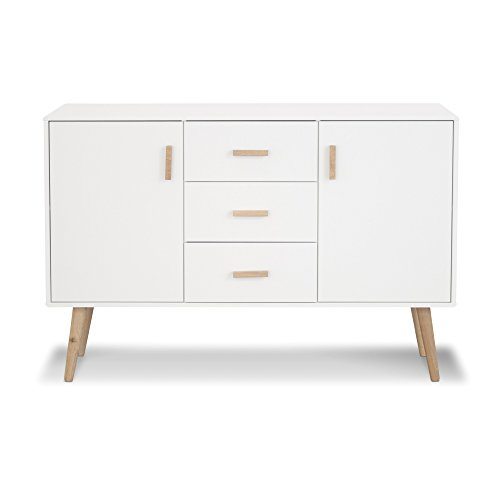 LifeStyleDesign Paulina Sideboard, Holz, weiß, 125 x 40 x 87 cm
