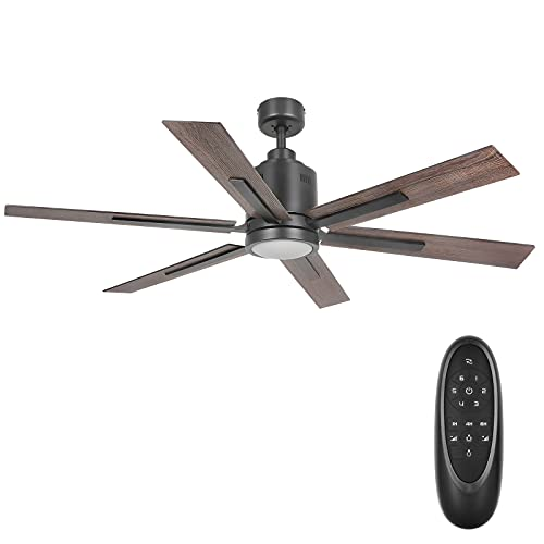 60 Inch DC Motor Ceiling Fan with Light, Reversible Motor and Blades, ETL Listed Industrial Indoor Ceiling Fans for Kitchen Bedroom Living Room, Remote Control