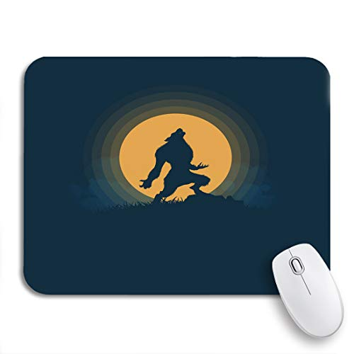 Adowyee Gaming Mouse Pad Blue Cartoon Werewolf Silhouette Halloween Night Moonlight Ghost Horror 9.5'x7.9' Nonslip Rubber Backing Mousepad for Notebooks Computers Mouse Mats
