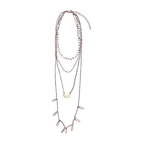 Yowablo Europa und Amerika Mehrschichtige Wild Long Halskette Temperament Metall Halskette (Gold)