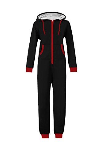 WOTOGOLD Men and Women Adult Pajamas Sportswear Hooded Unisex Jumpsuit Red Zipper Black