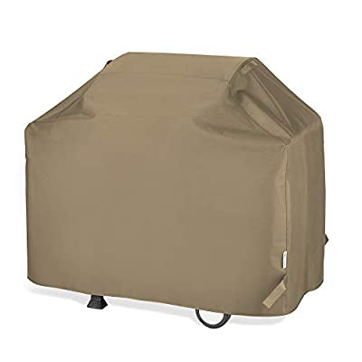 """Unicook BBQ Grill Cover 60 Inch, Heavy Duty Waterproof Outdoor Barbecue Gas Grill Cover with Sealed Seam, Rip and Fade Resistant, Fits Weber Charbroil Grills, 60"""" W x 23"""" D x 42"""" H, Neutral Taupe"""