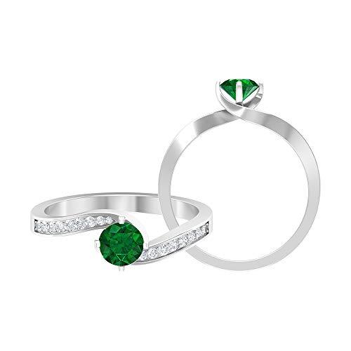 Anillo de compromiso de 3/4 quilates con esmeralda y diamante, anillo de compromiso, oro de dos tonos (calidad AAA), 14K Oro blanco, esmeralda, Size:EU 44
