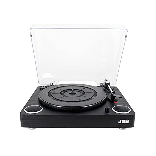 JAM Play Sound Turntable, Giradischi Vinile, Cartuccia in Ceramica di Qualità, Altoparlanti Stereo Integrati, Ingresso AUX, Uscita RCA, 3 Velocità, Coperchio Antipolvere, Nero