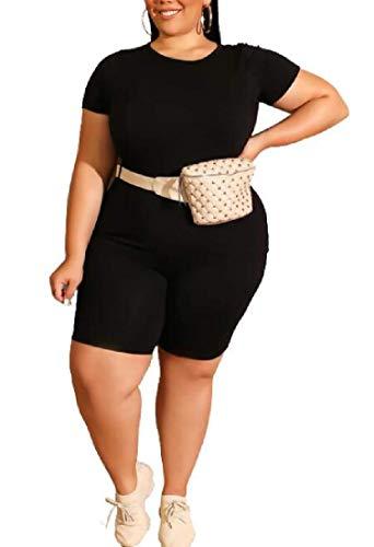 MU2M Women's T Shirts Solid Color 2 Pieces Outfits Short Sleeve Tracksuit Yoga Bike Short Black US M