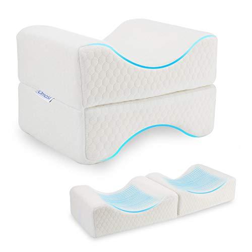 Omasi – Cojín para rodillas para dormir de lado, ortopédico, cojín para piernas ergonómico, cojín para rodillas para dormir de lado, cómodo cojín viscoelástico para la