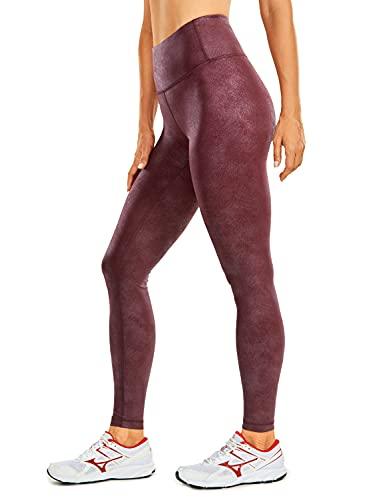 CRZ YOGA Mujer Cuero Sintética Leggings Deportivos Pantalón Elásticos Cintura Alta -71cm Vino Tinto 42