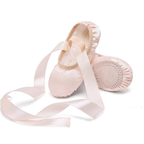 Stelle Girls Ballet Dance Shoes Satin Slippers Gymnastics Flats Split Sole with Ribbon (BP, 2ML)