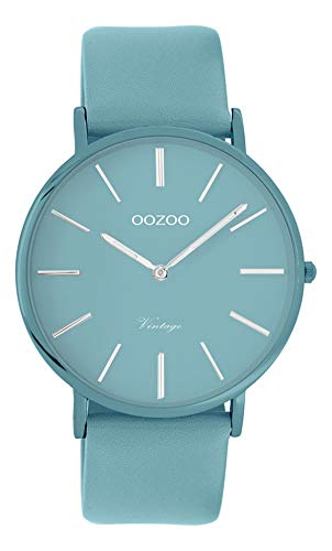 Oozoo Vintage Damenuhr Colors of The Summer mit Lederband Flach 40 MM Hellblau C9883