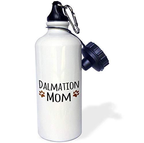Qidushop Dalmation Dog Mom Doggie Raza marrón barro huellas perro amante de perro orgulloso mamá dueño de mascotas amor blanco divertido botella de agua para niños aislador de acero inoxidable taza de viaje 21 oz