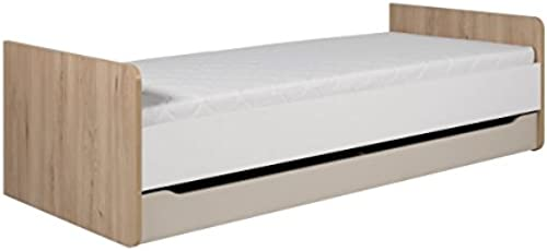mb-moebel Kinderbett Jugendbett 90x200 mit Schubladen und Lattenrost Ibsen Buche Weiß Beige Huron H