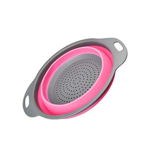 Vektenxi Hochwertiges Silikon-Sieb, faltbares Silikon-Sieb-Frucht-Gemüse-waschender Korb-Sieb-Küchen-Werkzeug-Pink, 11.5 * 9.33inch