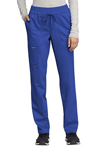 CHEROKEE Workwear WW Revolution Mid Rise Tapered Leg Drawstring Pant, WW105, S, Royal