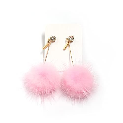 3 Pairs Real Mink Fur Pom Pom Ball Dangle Earring Rhinestone Stud Earring (Pink)