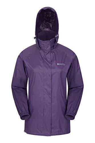Mountain Warehouse Pakka Jacke für Damen - Wasserfeste Regenjacke, Frau verstaubare Freizeitjacke, atmungsaktive, leichte Windjacke, bequemer Damenmantel - Für Frühling Violett 42