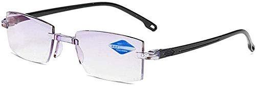 Alta dureza, anti-azul progresivo lejos y cerca de doble uso lectura para mujeres y hombres moda rectangular gafas planas luz anti-azul