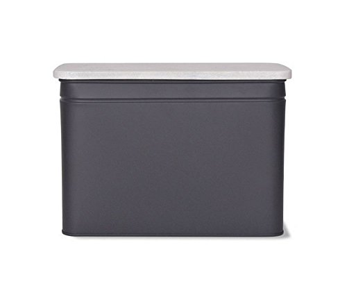 Garden Trading Large Steel Brompton Bread Box Bin in Charcoal Grey with Marble Chopping Board Lid   9.5 x 13.5 x 7.5'