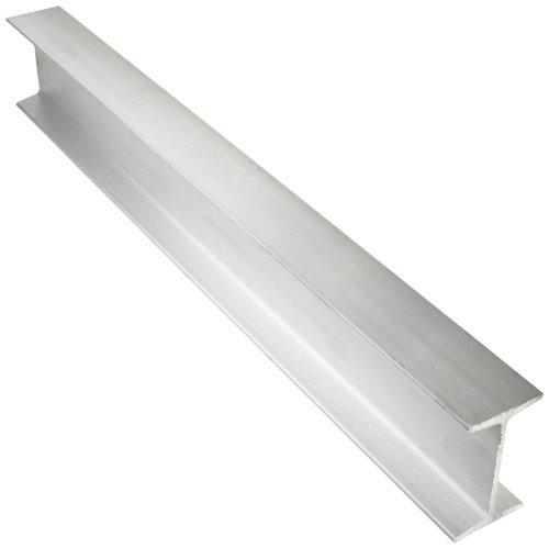 6061 Aluminum I-Beam, Unpolished (Mill) Finish, Extruded Temper, ASTM B221, Equal Leg Length, Rounded Corners, 4