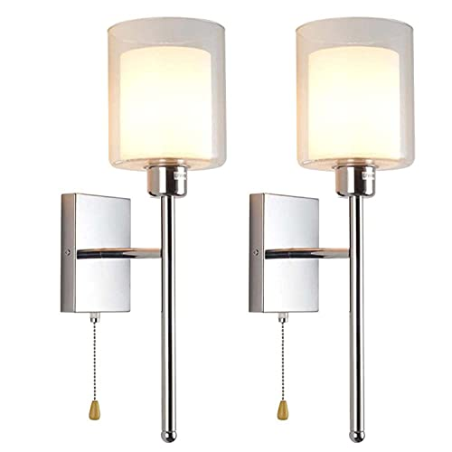 Modern Wall Sconces - Bedroom Wall Light, Nickel Finished Double Glass Shade E27 Wall Vanity Lamp with Pull Chain Cord Switch for Kitchen Living Room Bathroom,2pack