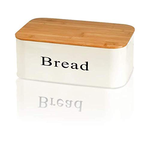 TOPBESQ Bread Box Modern Metal Bread Bin Bamboo Cutting Board Lid, Large Bread Food Storage Organizer Bread Container Space Saving Bread Holder for Kitchen Counter