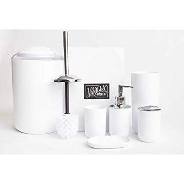 Vanilla Brick Bathroom Accessories Set, Soap Dispenser, Toothbrush Holder, Tumbler Cup, Soap Dish, Trash Can, Toilet Brush with Holder, 6 Piece Plastic Bath Gift Set (White)