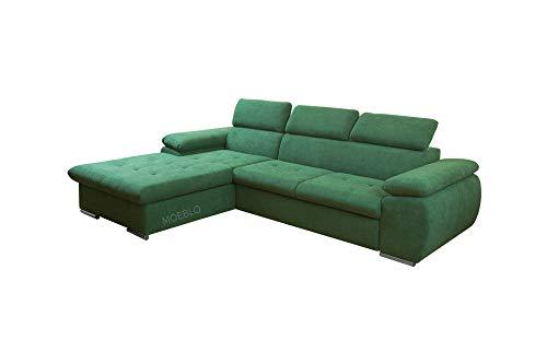 mb-moebel Ecksofa mit Schlaffunktion Eckcouch mit Bettkasten Sofa Couch L-Form Polsterecke NILUX (Dunkelgrün, Ecksofa Links)